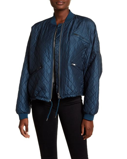 Free People | Blue Quilted Bomber Jacket | Lyst