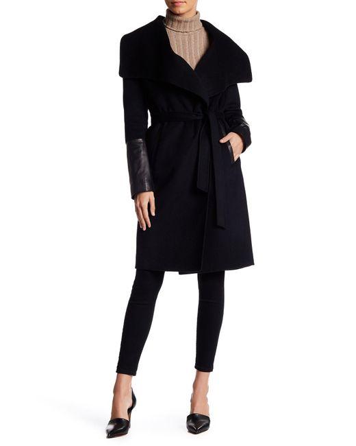 SOIA & KYO | Black Draped Genuine Leather Trim Wool Blend Coat | Lyst