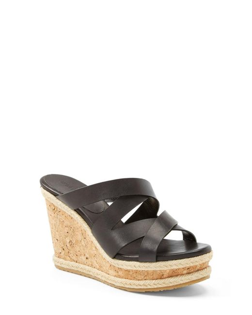 Jimmy Choo | Black 'prisma' Leather Wedge Sandal | Lyst
