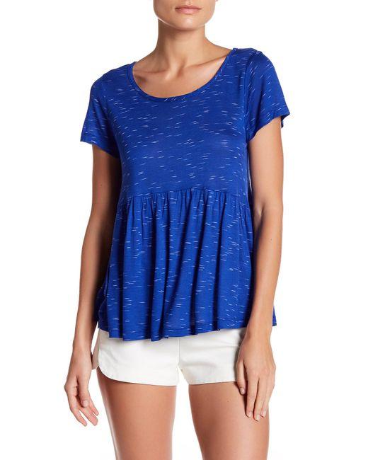 Bobeau   Blue Slub Spacedye Babydoll Knit Shirt (petite)   Lyst