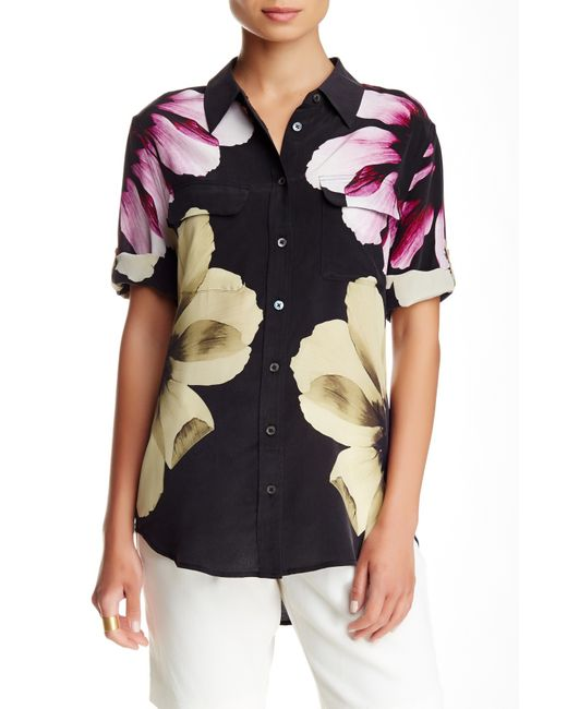 Equipment short sleeve slim signature silk blouse in black for Equipment black silk shirt
