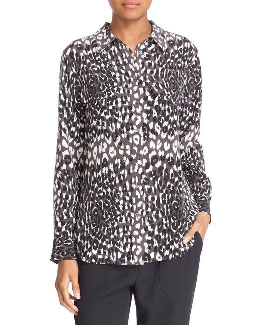 Equipment slim signature cheetah print silk shirt in black for Equipment black silk shirt
