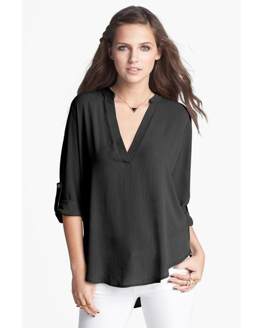 Lush | White Roll Tab Sleeve Woven Shirt | Lyst
