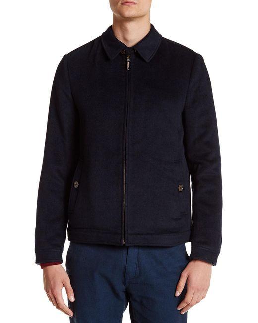 Ted Baker Drawn Wool Harrington Zip Jacket In Blue For Men