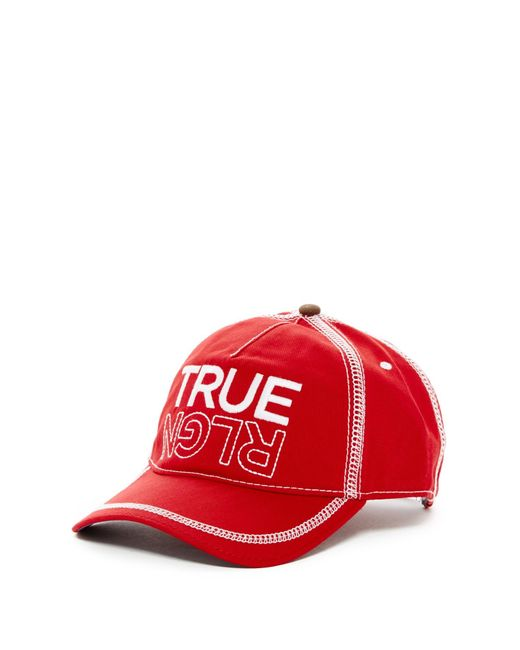 True Religion | Red Overlock Stitch Baseball Cap for Men | Lyst
