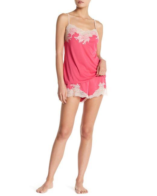 Natori | Pink Boudoir Lace Trim Short Pajama Set | Lyst
