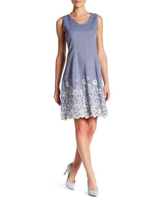 Sharagano - Blue V Neck Denim Style Sleeveless Dress - Lyst