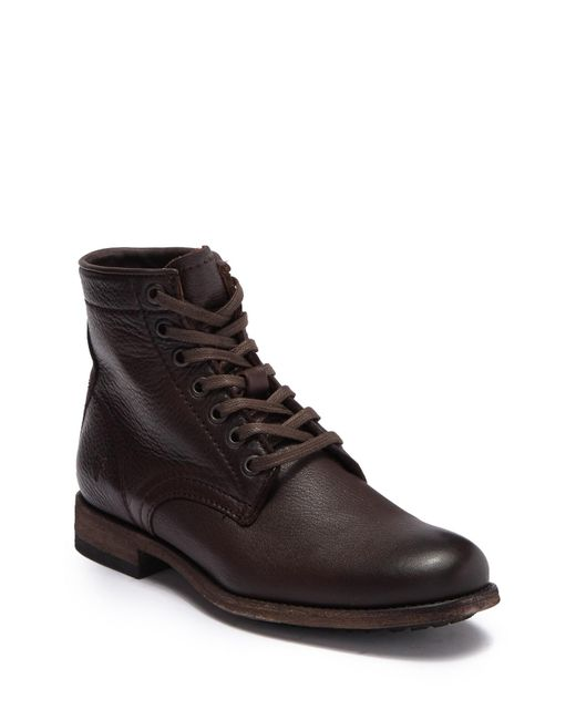 Frye Brown Tyler Leather Lace Up Boot