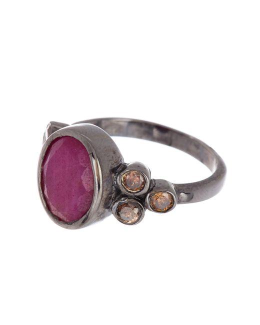 Adornia Pink Sterling Silver Ruby & Diamond Ring