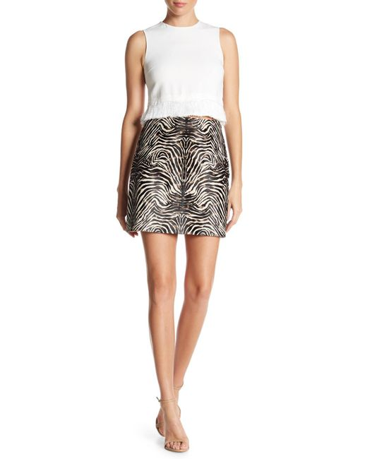 Theory - Black Fur Irenah Calf Hair Leather Skirt - Lyst