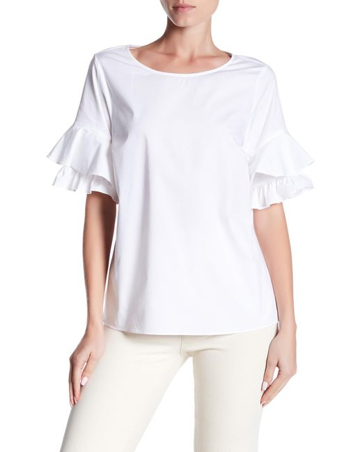 Cece by Cynthia Steffe | White Tiered Ruffle Sleeve Poplin Shirt | Lyst
