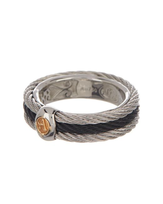 Alor - Metallic 18k White Gold & Two-tone Stainless Steel Cable Wide Band Ring - Size 7 - Lyst