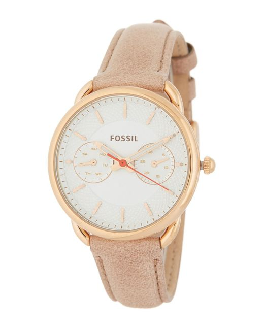 Fossil - Metallic Women's Tailor Chronograph Leather Strap Watch, 34mm - Lyst