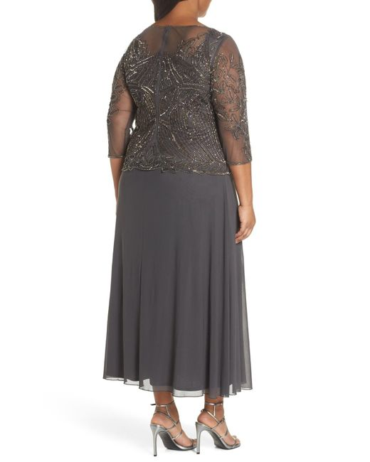 2c3e0887c6a ... Pisarro Nights - Multicolor Illusion Neck Beaded A-line Gown (plus Size)  ...
