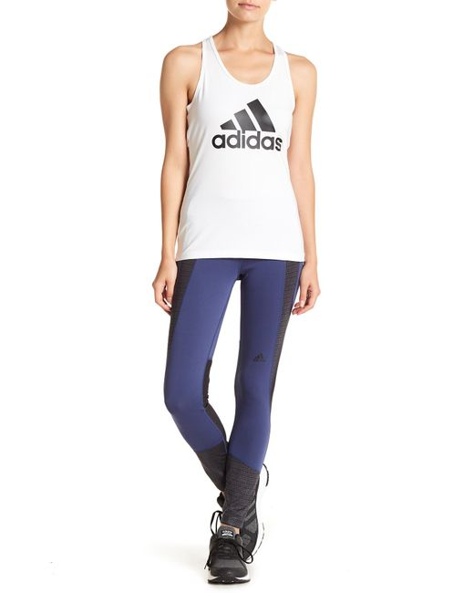 Women's Blue Design 2 Move Mid Rise 7/8 Adihack Tights by Adidas