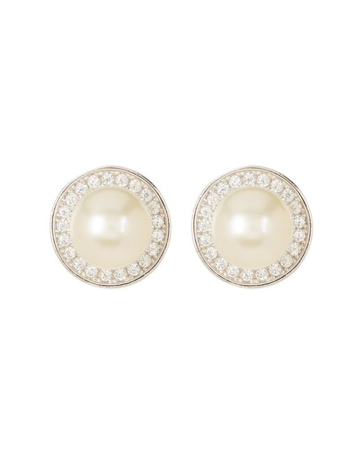 Adornia - White Sterling Silver 9mm Freshwater Pearl Swarovski Crystal Accented Halo Stud Earrings - Lyst