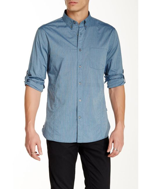 John Varvatos - Blue Pinstripe Long Sleeve Roll Up Trim Fit Shirt for Men - Lyst