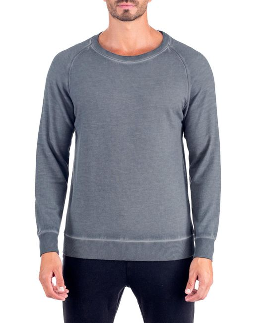 Unsimply Stitched | Gray Dirty Washed French Terry Relaxed Neck Crew Sweater for Men | Lyst