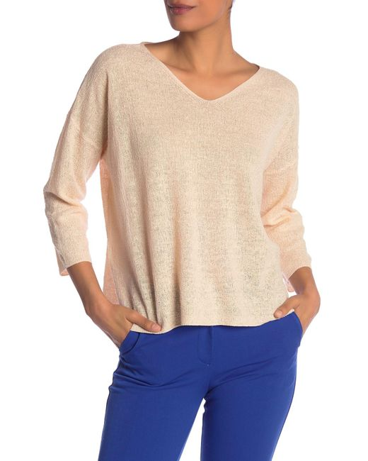 624bd80f144 Eileen Fisher - Natural Long Sleeve Linen Top - Lyst ...