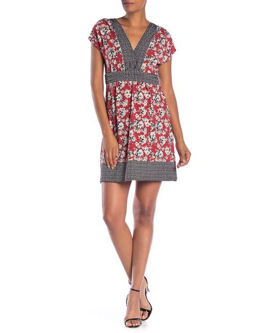 Max Studio - Black V-neck Print Short Sleeve Dress - Lyst