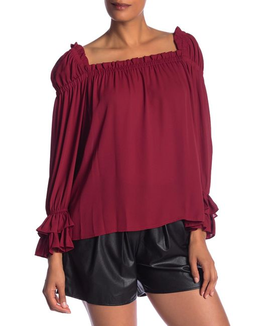 a99845e5035775 Cece by Cynthia Steffe - Red Square Neck Ruffle Blouse - Lyst ...