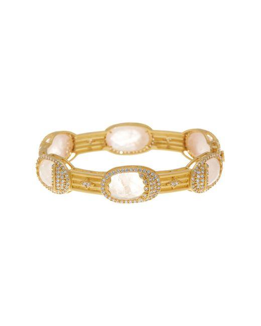 Freida Rothman | Metallic 14k Gold Plated Sterling Silver Rose Quartz Mirror Mirror Cz Pave Bracelet | Lyst