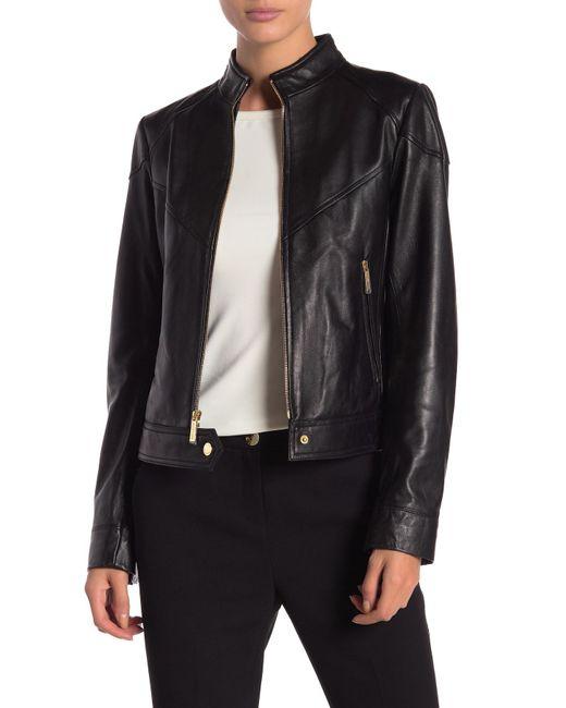 MICHAEL Michael Kors - Black Zip Front Scuba Leather Jacket - Lyst