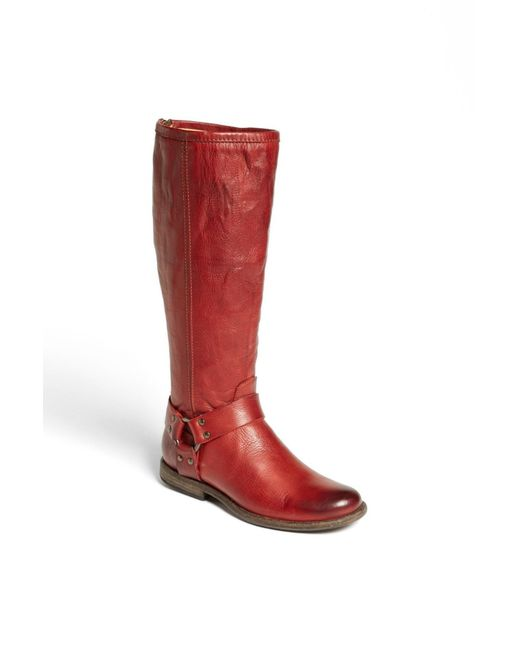 Frye | Red Phillip Harness Tall Washed Leather Riding Boot | Lyst