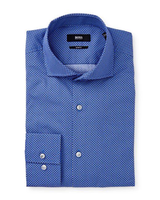 Boss jason dotted extra trim fit dress shirt in blue for for Extra trim fit dress shirt