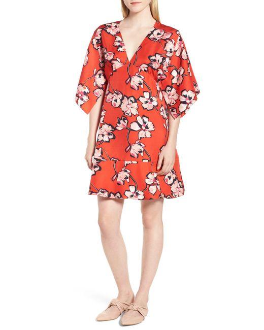 LEWIT - Red Floral Silk Dress - Lyst