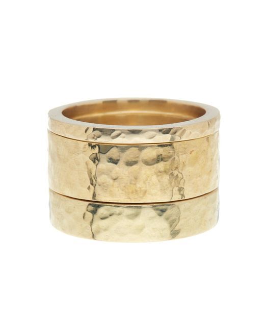 Soko - Metallic Hammered Band Ring - Set Of 3 - Lyst