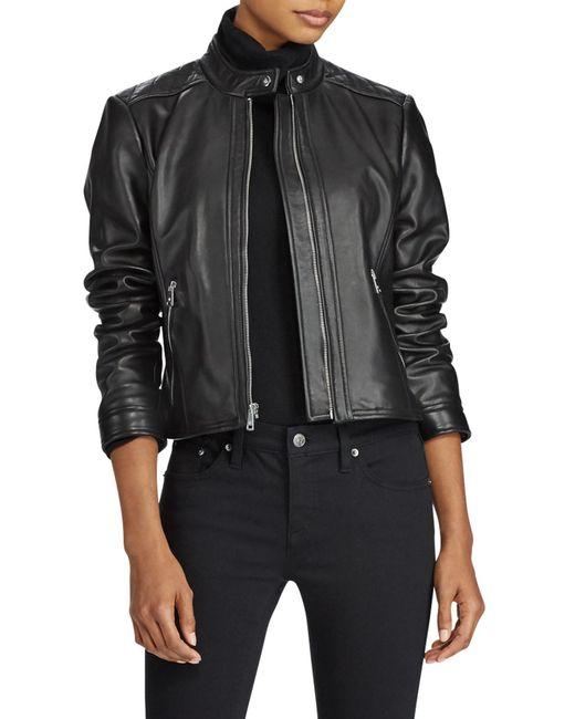 Ralph Lauren - Black Front Zip Lambskin Leather Jacket - Lyst