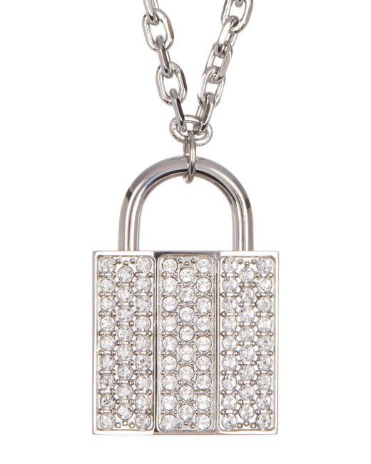 Swarovski | White Crystal Pave Lock Pendant Necklace | Lyst