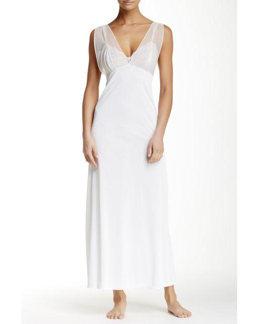 Natori   White Boudoir Lace & Mesh Trim Long Nightgown   Lyst