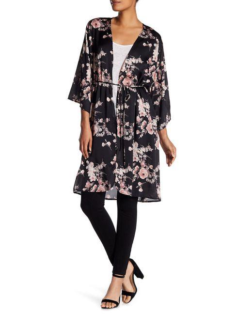 Soprano | Black Floral Satin Tie Kimono | Lyst