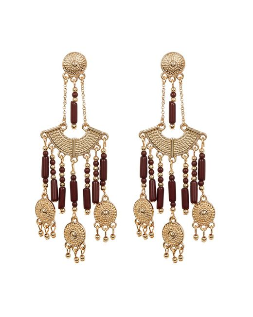 Steve Madden - Metallic Bead Detail Textured Chandelier Drop Post Earrings - Lyst