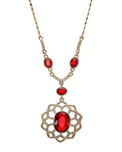 Carolee | Metallic Pave Openwork Flower Pendant Necklace | Lyst