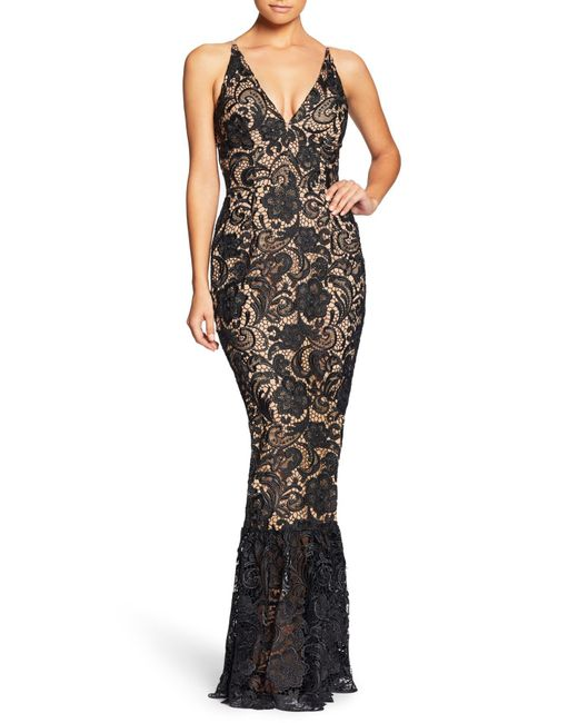 Dress the Population - Black Sophia Crochet Lace Mermaid Gown - Lyst