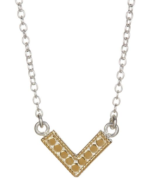 Anna Beck | Metallic Sterling Silver & 18k Gold Reversible Mini V Necklace | Lyst