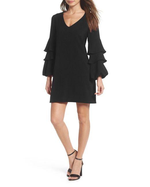 Charles Henry - Black Tiered Ruffle Sleeve Dress (regular & Petite) - Lyst