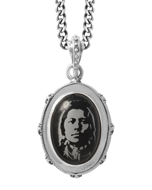 King Baby Studio | Black Etched Chief On Stone Bezel Pendant Necklace | Lyst