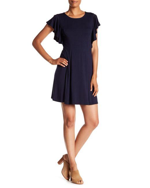 Karen Kane - Blue Flutter Sleeve Dress - Lyst