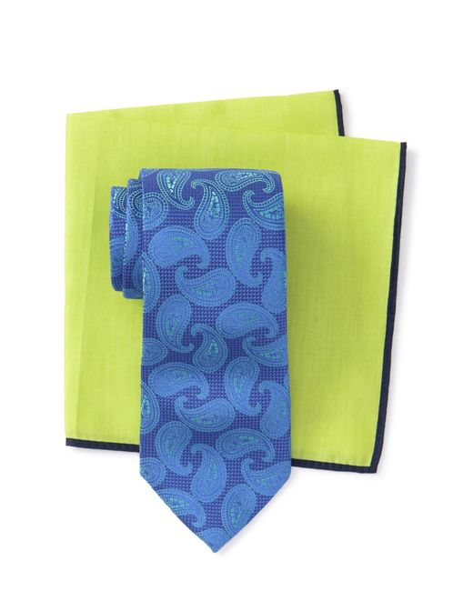 f8e65a90 Ted Baker Silk Textured Pine Tie & Pocket Square Set in Blue for Men ...