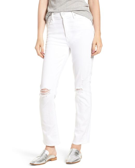 Mother - White The Rascal High Waist Ankle Straight Leg Jeans (little Miss Innocent) - Lyst