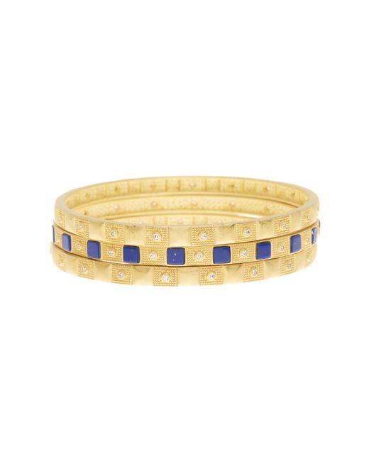 Freida Rothman | Metallic 14k Gold Plated Sterling Silver Lapis Square Bangles - Set Of 3 | Lyst