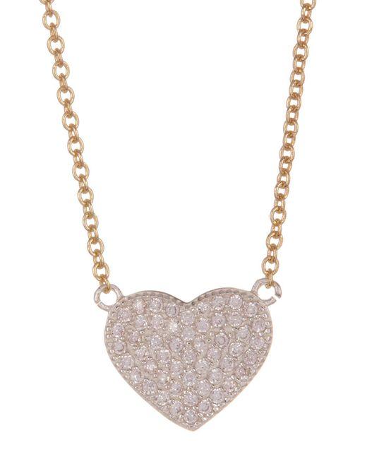 Argento Vivo - Metallic Sterling Silver Pave Heart Pendant Necklace - Lyst