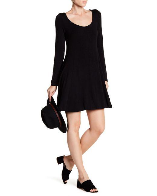 Lush | Black Long Sleeve Swing Dress | Lyst