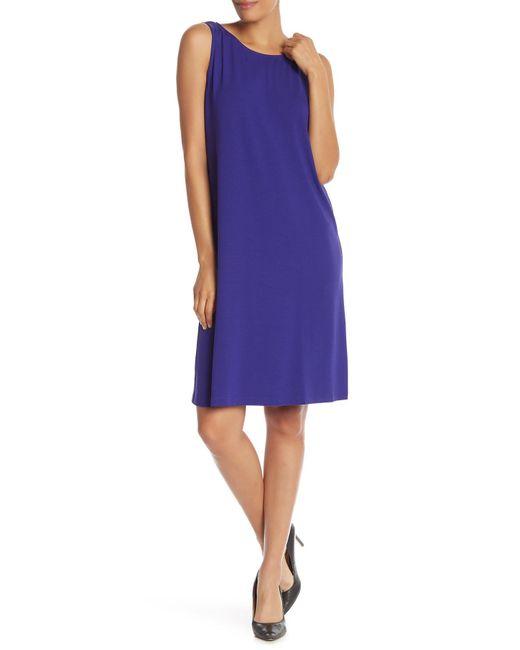 Eileen Fisher - Purple Solid Crew Neck Sleeveless Dress - Lyst