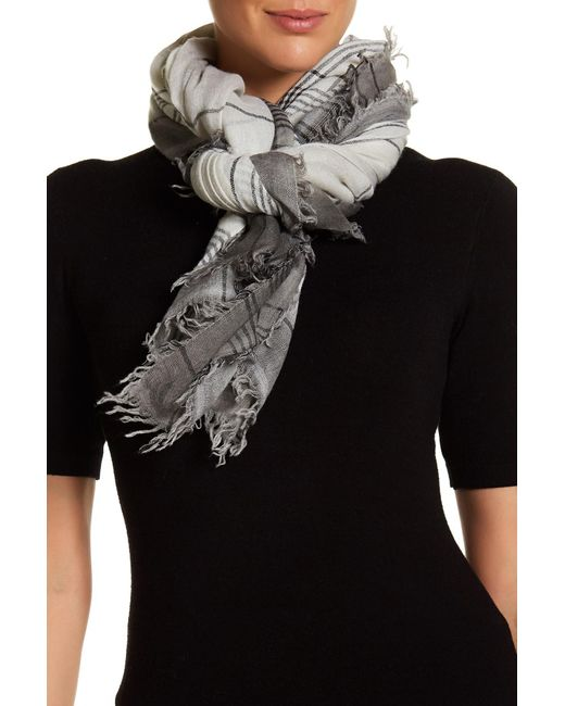Frye | Gray Degrade Stripe Virgin Wool Wrap Scarf | Lyst