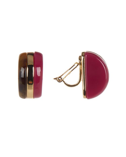 Trina Turk - Multicolor Double Sided Domed Clip Earrings - Lyst